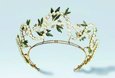 Antique Tiara, France (made by René Lalique; pearls, diamonds, enamel, gold).