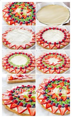 Fruit Pizza with Cream Cheese Frosting | Blueberries, raspberries, strawberries and bananas.