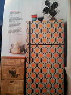 Wallpaper refrigerator...i'm SOOOOOO doing this. maybe it will help me tolerate our old fridge until i get my smeg~