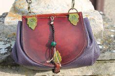 Sac feuilles de chêne, leaf leather pouch