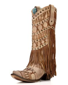 <p>Dress to impress when adorning these stunning cowgirl boots! Handcrafted from distressed leather for that desirable aged look, these snip-toe boots showcase fringe details hanging off the shafts, and studs placed on the shafts and vamps. They also feature much comfort by leather linings and cushioned insoles, pull straps help in allowing easier dressing, and leather outsoles, with rubber heel tabs and rubber inserts, make for confident strides.</p>