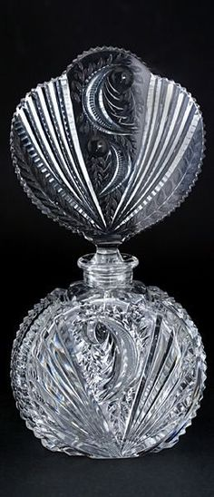 C. 1930's Czech Cut and engraved Crystal Glass Scent Bottle