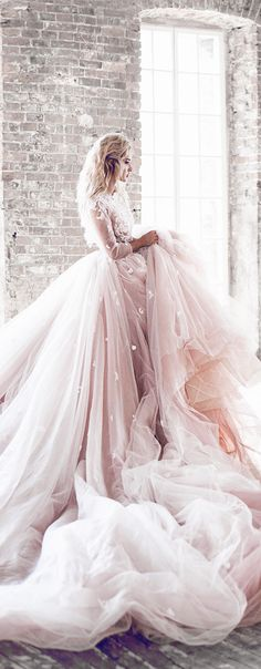 Fairytale blush dream gowmn with lots of tulle and fantastic embroidery / lace appliqué