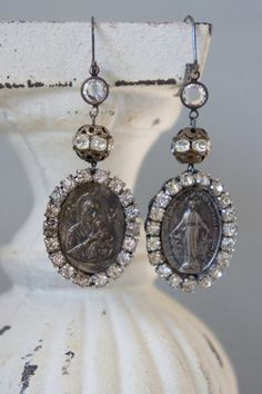 Vintage assemblage earrings religious medals rhinestones by frenchfeatherdesigns