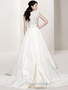 V-neck A Line Short Lace Sleeves 2012 Wedding Dress with Floral Lace Back NW1017 by Noviamor Dress