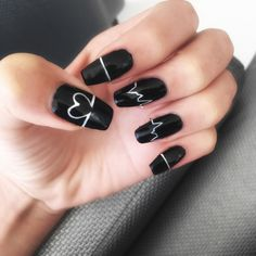Elegant Black And White Nail Art Designs You Need To Try; Elegant Black And White Nail Art Designs; Elegant Black And White Nail; Black And White Nail; Black And White Nail Art Designs; Black Nails With Glitter, Matte Black Nails, Black Nail Art, White Nails, Glitter Nails, Fun Nails, Black Art, White Glitter, Black Sparkle