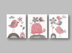 Lot de 3 illustrations pour chambre d'enfant et bebe, gris, rose : Décoration pour enfants par galerie-anais