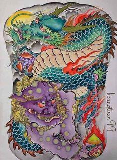 Japanese Snake Tattoo, Japanese Dragon Tattoos, Japanese Tattoo Designs, Dragon Tattoo Full Back, Full Back Tattoos, Fu Dog, Koi Fish Tattoo, Traditional Japanese Tattoos, Asian Tattoos