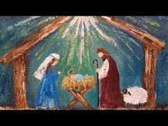 Simple Palette Knife NATIVITY Christmas Acrylic Painting Tutorial LIVE - YouTube