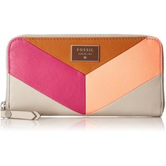 Fossil Dawson Zip PNKM Wallet (£56) ❤ liked on Polyvore featuring bags, wallets, leather zip wallet, leather wallet, pink wallet, fossil wallet and fossil bags