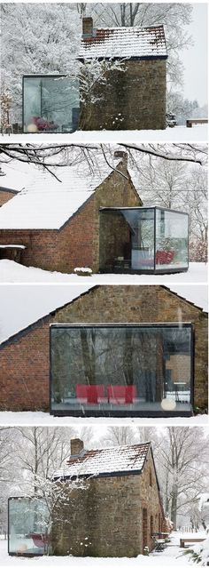 a sleek glass room creates high contrast when added to a rustic stone cabin. i can just imagine sitting out here watching the snow fall! Houses Architecture, Interior Architecture, Amazing Architecture, Exterior Design, Interior And Exterior, Stone Cabin, Building An Addition, Glass Extension, Building An Extension