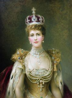 Queen Alexandra, Danish Princess who married who married Prince Albert Edward, later King Edward VII of England. She is said to have had a scar on her neck from a tracheotomy, and wore choker collars of pearls to hide the scar. She's wearing a lot more pearls than just the choker in this portrait. Queen Alexandra | the GOLD book d'Odette