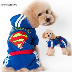 SYDZSW Pet Suit Dog Superman Costume Sport Chihuahua Dog Hoodie Coat Black Blue Yorkie Dog Clothes Puppy Pet Products Wholesale