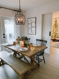 Holiday Tablescape at Twilight: Magnolia Branches Copper Accents. Holiday Tablescape at Twilight: Magnolia Branches Copper Accents. Holiday Tablescape at Twilight: Magnolia Branches Copper Accents Farmhouse Dining Room Table, Elegant Dining Room, Dining Room Walls, Dining Room Furniture, Dining Room Lighting Rustic, Dining Room Chandeliers, Copper Dining Room, Dinning Room Light Fixture, Iron Chandeliers
