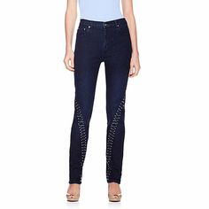 DG2 Grommet and Stud Stretch Denim Skinny Jeans LOVE LOVE the stretch, adore the embellishment!