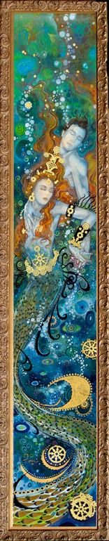"Saatchi Online Artist: Tom Fleming; Watercolor, Painting ""Depths of Love""  Mystical ❦ Maybe it is the title of the painting, but it reminds me of the story of Hero and Leander (Leander dies in Hellspont swimming at night to meet with Hero). Maybe it is because Shakespear referred to this tale of lovers as a ""deep story of a deeper love"" (Two Gentlemen of Verona)"