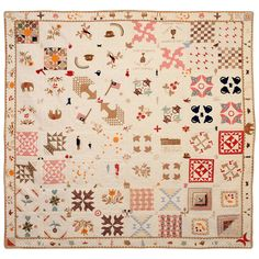 Temperance Sampler Quilt with Figures and Animals and Figures | From a unique collection of antique and modern quilts at https://www.1stdibs.com/furniture/folk-art/quilts/