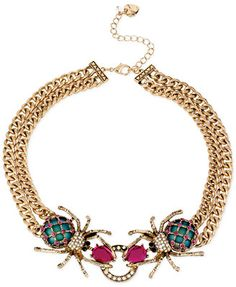 Betsey Johnson Gold-Tone Spider Frontal Necklace- Macys $58, Zappos $58