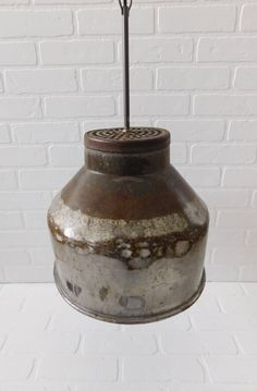 Vintage Galvanized Farmhouse Pendant Light  The galvanized canopy measures 10 inches in height, 12 i