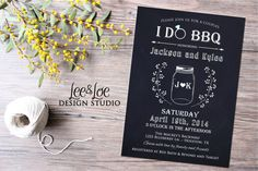 Couples or Coed Bridal Shower Printable Invitation-I Do BBQ, Chalkboard, Mason Jar, Wedding