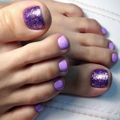 Summer Pedicure Colors, Fall Pedicure, Summer Toe Nails, Pedicure Nails, Purple Pedicure, Glitter Pedicure, Summer Colors, Fall Nails, Pretty Toe Nails