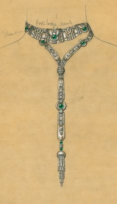 Rubel Frères - Design for an Art Deco diamond and emerald necklace, 1920s.