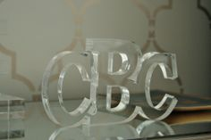 Lucite Acrylic Letter Monogram. HappyValleyGoods @ happyvalleygoods.com
