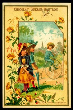 """Chocolate Guerin-Boutron """"The Language of Flowers"""" Buttercup """"Mockery"""" Vintage Ephemera, Vintage Cards, Vintage Postcards, Vintage Images, Antique Pictures, Language Of Flowers, Victorian Art, Old Ads, Cacao"""
