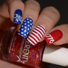 Different Dimension Americana Trio uber chic beauty july 4th nail art design red white and blue