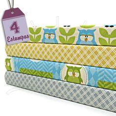 Kit Tecido Patchwork (30x70) 4 Estampas - Owl  4 estampas diferentes - 30 x 70 cm cada  100% Algodão