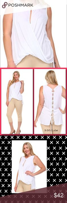 """SALEPlus Size Twist Top Plus size twist front top. Gorgeous wrap style, with keyhole detailing. 100% Rayon Lace up Back Beautiful Sheer Fabric Trades/PayPal or Mercari *️⃣Price Firm Unless     *️⃣(If """"applicable""""this item includes sales tax reimbursement computed to the nearest mil') Tops Tank Tops"""