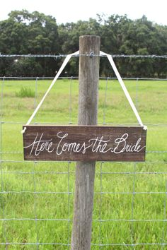 Here Comes the Bride Wooden Wedding Sign - Ceremony Signs - Rustic Weddings on Etsy, $29.99