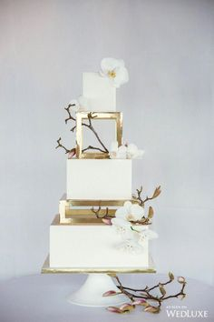 Steel Magnolia - WedLuxe Magazine Gold separator tiers on square wedding cake . - Steel Magnolia – WedLuxe Magazine Gold separator tiers on square wedding cake This image has - Elegant Wedding Cakes, Beautiful Wedding Cakes, Wedding Cake Designs, Beautiful Cakes, Unique Weddings, Cake Wedding, Rustic Wedding, Trendy Wedding, Wedding Venues
