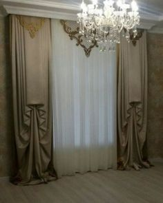 NOT for me but go to Kim Hood Window Treatments for a huge collection of incredible images.I've never seen this style before Modern Curtains, Curtains With Blinds, Shabby Chic Curtains, Velvet Curtains, Modern Interior Design, Interior Design Living Room, Drapery Designs, Curtain Styles, Beautiful Curtains