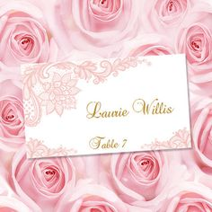 printable place cards vintage lace blush pink worddoc tent escort card template avery 5302 compatible all colors av diy you print