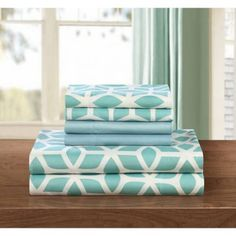 Davitt 6-Piece Bedding Sheet Set with 2 Bonus Pillowcases, King ,Green   Geometric Pattern 6-Piece Bedding Sheet Set with Pillowcases , King - Green *** Check this awesome product by going to the link at the image.