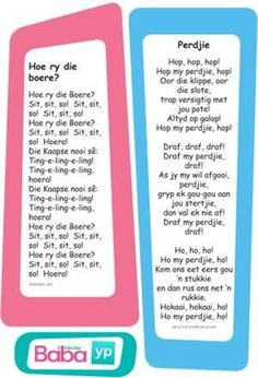 Hier's die woorde van al die ou bekende Afrikaanse rympies en liedjies, in pragtig ontwerpte drukstukke deur Baba & Kleuter! Preschool Songs, Preschool Education, Preschool Printables, Early Education, Classroom Activities, Activities For Kids, Kids Poems, Baby Songs, Kindergarten Lessons