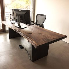 Your Custom Desk- Live Edge Desk- Industrial Desk- Rustic Desk- Wooden Desk- Maple- Walnut- Cherry- Natural Wood Desk- Modern Desk- Office Live Edge Furniture, Home Office Furniture, Wood Furniture, Furniture Design, Modern Wood Desk, Solid Wood Desk, Home Office Design, Home Furnishings, Office Table