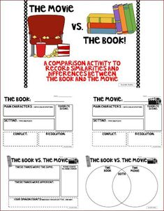 Free - Here's a really fantastic collection of graphic organizers that were created specifically for comparing books to movies.