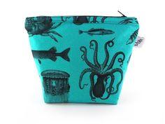 Handmade Sea Creatures Makeup Bag Turquoise from maxandrosie.co.uk