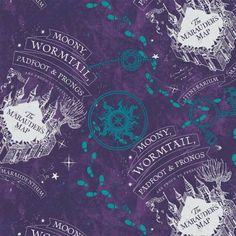 Harry Potter Flannel Fabric, Fabric by The Yard, Purple Compass Rose Marauders Map Flannel, Camelot Fabrics, TheFabricEdge Harry Potter Fabric, Marauders Map, Boys And Girls Club, Harry Potter Wallpaper, Compass Rose, Purple Aesthetic, Cool Fabric, Printing On Fabric, Flannel