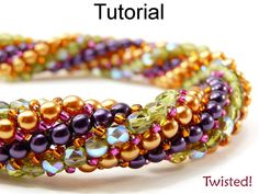 Beading Tutorial Pattern Bracelet Necklace - Twisted Herringbone Stitch - Simple Bead Patterns - Twisted! #445
