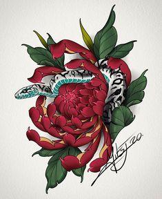 Irezumi Tattoos, Arm Tattoos, Arm Band Tattoo, Flower Tattoos, Japanese Snake Tattoo, Japanese Tattoo Designs, Crisantemo Tattoo, Dutch Tattoo, Sailor Jerry Tattoo Flash
