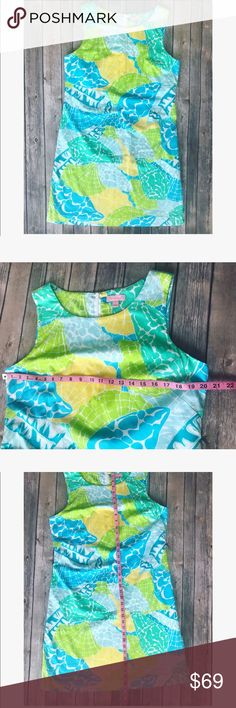 💗 Beautiful Lilly Pulitzer summer dress 💗 💝 Beautiful Lilly Pulitzer summer dress in gorgeous green blue and yellow print, size 14 please see pics with measurements 💝 Lilly Pulitzer Dresses Midi
