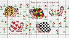 Super cute turtle cross-stitch patterns.  Free from Mamigoz.