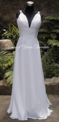 This would be a great wedding dress for a beach wedding in Hawaii.