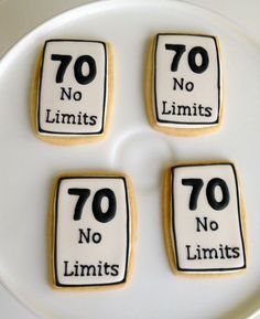Cute speed limit sign cookies for a milestone 70th birthday party.