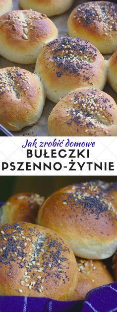 Bułki pszenno-żytnie na śniadanie. Hamburger, Bread, Fan, Recipes, Brot, Baking, Burgers, Breads