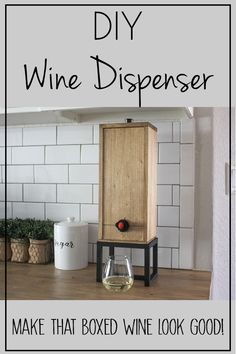 Whether you are serving wine at a holiday gathering, your wedding or just every night when you watch Netflix, this DIY Wine Dispenser is the perfect way to dispense boxed wine but make it look great! No one will even care that it was out of a box! The modern design can lend itself to any decor style. Perfect for giving as a gift to all the wine lovers in your life! #boxedwine #winestorageideas #winerack #winedispenser #giftforwinelover via @theinspiredworkshop