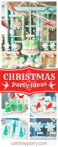 Take a look at this Whimsical Winter Wonderland Party! The cookies are fabulous!! See more party ideas and share yours at CatchMyParty.com  #winterwonderland #christmas